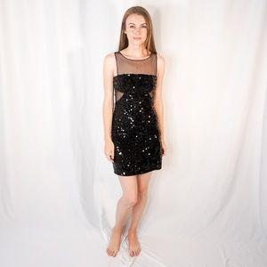 BCBG MaxAzria LIA Black Sequin Illusion Mini Dress